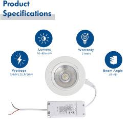 LED ダウンライト 80 mm 埋め込み型 Lightning アルミニウムリフレクタルーメン COB LED パワー 3 ワット両面ファイバーガラスボード、ウォームホワイト