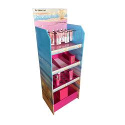 Tienda de cosméticos maquillaje Expositor Expositor Stand de cartón con ganchos y bandeja de estante