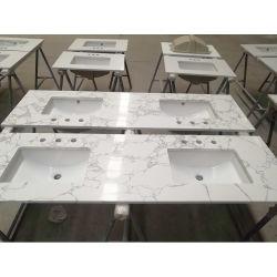 Baño de lujo Vanity Cuarzo Countertop Calacatta Blanco Artificial Marble Stone Vetas Single Double Bowl Quartz Vanity Counter Top