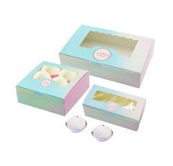Gradient cor impressa Cupcake Ovo de Embalagem Caixa Tartes Food Grade Paper