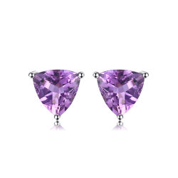 Mode bijoux Gemstone Améthyste goujon Triangle Earring 925 Sterling Silver bijoux Set