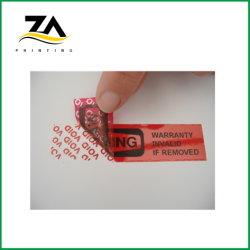 Roja la cinta adhesiva de seguridad personalizada Void etiqueta Holograma de verificación