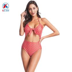 Taille haute Liens Piscine avant d'usure du noeud Sexy Bikini Lycra un morceau de maillots de bain pour femmes
