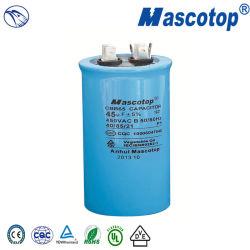 Cbb65 condensador con cubierta de plástico azul 45UF 450 V 10000afc