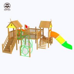 Strumentazione del gioco del campo da gioco per bambini grandi dei giocattoli della fabbrica di asilo delle attrezzature di desiderio di legno solido di combinazione esterni diretti della trasparenza