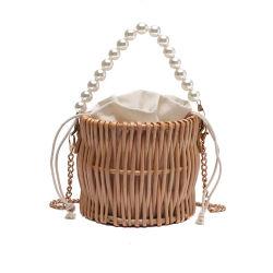 Nova Moda Hand-Woven mulheres Saco de vime Crossbody Praia Saco de palha chique Natural mala bolsa sacola de vime