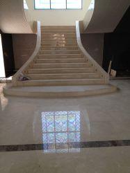 Las escaleras de mármol beige baldosa de mármol marfil elevadores de escaleras y pasamanos