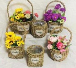 Paja Natural tejida a mano Flor redonda Maceta Cesta de tejido de soporte para la decoración del hogar