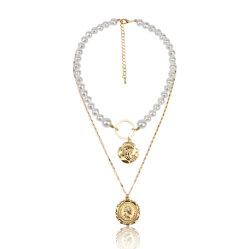 方法宝石類の円形の硬貨ヘッドおよび真珠のチョークバルブが付いているマルチ層のネックレス