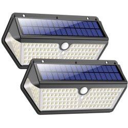 Usine RoHS CE FAC PSE 128 LED feux Solaire 270 degrés à 180 degrés de l'angle d'éclairage LED du capteur sans fil étanche mur solaire light feux de jardin