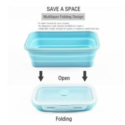 Mehrfachverwendbarer Mittagessen-Kasten oder Nahrungsmittelbehälter hergestellt vom gesunden und umweltfreundlichen Silikon-Material