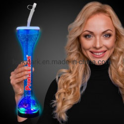 أكواب بلاستيكية مع كوب شراب زجاجي لسكوب ليدز يارد كوب LED طويل مع حبل قصير مخصص مع وميض مصابيح LED كأس للحانة