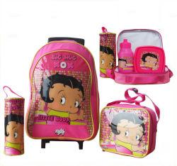 Supermarché d'affichage personnalisé Cartoon épaule fonctionnelle de la Papeterie filles étudiant Kids Rolling Chariot à roulettes pen Crayon sac à lunch du refroidisseur de cas de retour des sacs de l'école