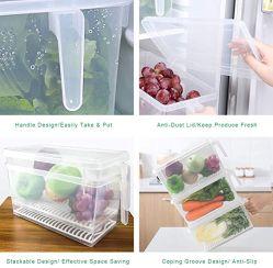 플라스틱 저장 그릇 정연한 음식 저장 조직자 과일 야채 고기 계란을%s 뚜껑을%s 가진 쌓을수 있는 냉장고 조직자 손잡이 부엌 콘테이너