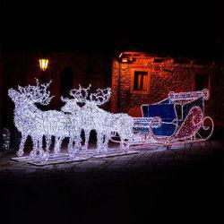 2021 야외 핫 세일 대형 크리스마스 사슴 썰매 3D LED 엘크 모티프 라이트 동상 빅 산타 사슴 크리스마스 장식