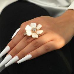 패션 도매 보석 다이아몬드 쉘 꽃 링