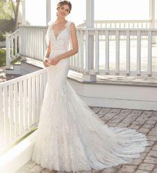 Sleeveless Hochzeits-Kleid-Tulle-Spitze-Bogen V-Back Nixe-Brautkleid Wd152