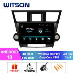 Voiture Witson Android 10 DVD Player pour 2011-2015 Toyota Highlander 4 Go de RAM 64 Go de mémoire Flash grand écran dans la voiture lecteur de DVD