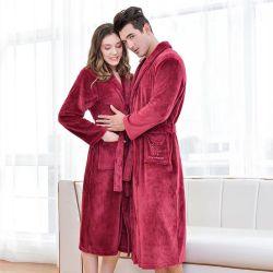 Winter Coral Fleece Robe Damen und Herren warm Solid Nachthemd Lange Flanell Kimono Bademäntel