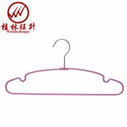 La vie quotidienne d'utilisation revêtus de PVC de couleur rose fil métallique Vêtements Hanger pour Custom