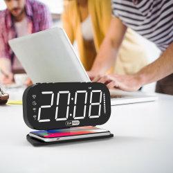 Carregador de relógio de alarme digital sem fio Qi relógio de mesa Soneca de carregamento rápido para o quarto