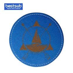 Bestsub Engraving PU レザーラウンドマグコースター(ブルー)