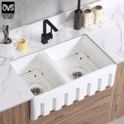 La conception populaire sanitaires Double vasque en céramique un tablier de cuisine/salle de bains ferme/dissipateur économique Lavabo Remise du bassin de la salle de bains
