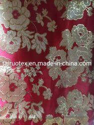 100 % polyester Tissu jacquard de soie d'or pour le tissu du vêtement