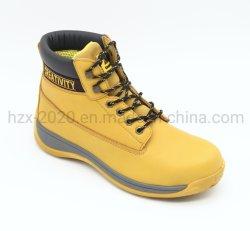 Inicialização de segurança com pele genuína e a tampa de fecho de aço cor amarela da sapata de segurança o calçado de segurança