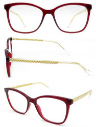 Moda Moda Gafas de óptica de acetato transparente con bastidor de acero inoxidable templo