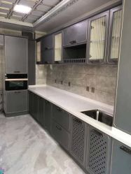 V205 White Carrara pasta salpicada Superfície sólida Bancada de cozinha/banheiro decoração