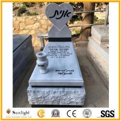 صنع وفقا لطلب الزّبون إسرائيل أسلوب بيضاء/أسود/رماديّ صوّان/شاهد القبر رخاميّة لأنّ مقبرة