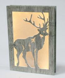 Funciona con pilas mate de madera del árbol de Navidad alegre de la luz de la caja de la ventana
