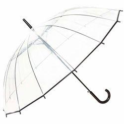 Plastikrippen-transparenter Regenschirm der Poe-schwarze Ordnungs-16 mit gebogenem Griff
