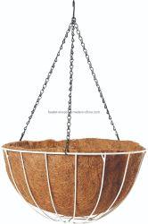 Garten-Pflanzeneisen-Draht-hängender Korb mit Ketten und Coco-Zwischenlage-Metallblumen-Pflanzer (Bh090020)