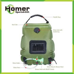 PVC携帯用キャンプのウォーターバッグのシャワーをハイキングする屋外の太陽熱くするコンパクト5のガロン20L