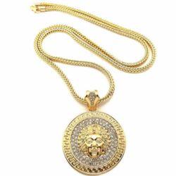 Tegenhanger van de Halsband van de Mensen van de Leeuw van Hip Hop van de Legering van het zink de Hoofd Gouden