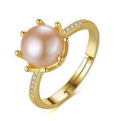 Plaqué or 18K Sterling Silver Pearl anneaux d'eau douce de doigt