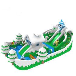 Надувные Bouncer Combo с двумя слайд Зимнего дома тема снега игровая площадка