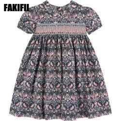 Primavera/Verão personalizados de fábrica filhos crianças Desgaste Menina Vestuário Flora vestido Smocked vestuário infantil rosa