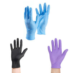 Guanti di sicurezza monouso non sterili in nitrile per esame blu in vendita diretta in fabbrica Guanti