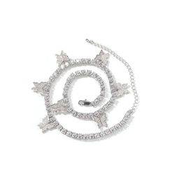 Новейшие европейские Diamond украшения мелочь Iced, теннисный корт в форме бабочки цепи подвесная цепочка
