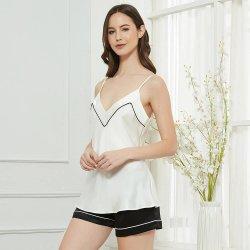 Damen Camisole 100% Seide Camisole Shorts Set Weiß und Schwarz Unterhemd Aus Seide