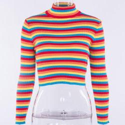 Arco-Íris listras Sexy Slim Borders Jumper Turtlenecks mulheres Camisolas pullovers