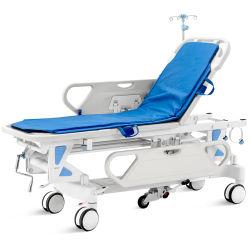 Manual de altura ajustável e transferência de paciente médico Cama Rolante quarto operacional mobiliário carrinho de emergência com colchão e suporte de infusão