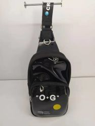 Preto elegante Single-Shoulder unissexo Airbag torácico de PVC