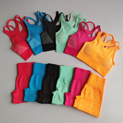 بالجملة غنيمة [سكرونش] نظام يوغا تمرين بدنيّ ثبت قصيرة 2 قطعة رياضة لياقة لباس نساء بروز أعلى تمرين بدنيّ قصيرة [جم] نظام يوغا لباس