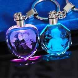 Kristall Glas Schlüsselanhänger LED Licht Kristall Schlüsselanhänger qualitativ hochwertige Optische K9 Kristall 3D Laser Gravieren Schlüsselkette