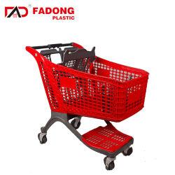 Moderner Supermarkt-PlastikEinkaufswagen mit einem Beutel-Vorstand
