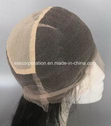 Cheveux humains suisse de droit de la dentelle avec dentelle élastique perruque complet